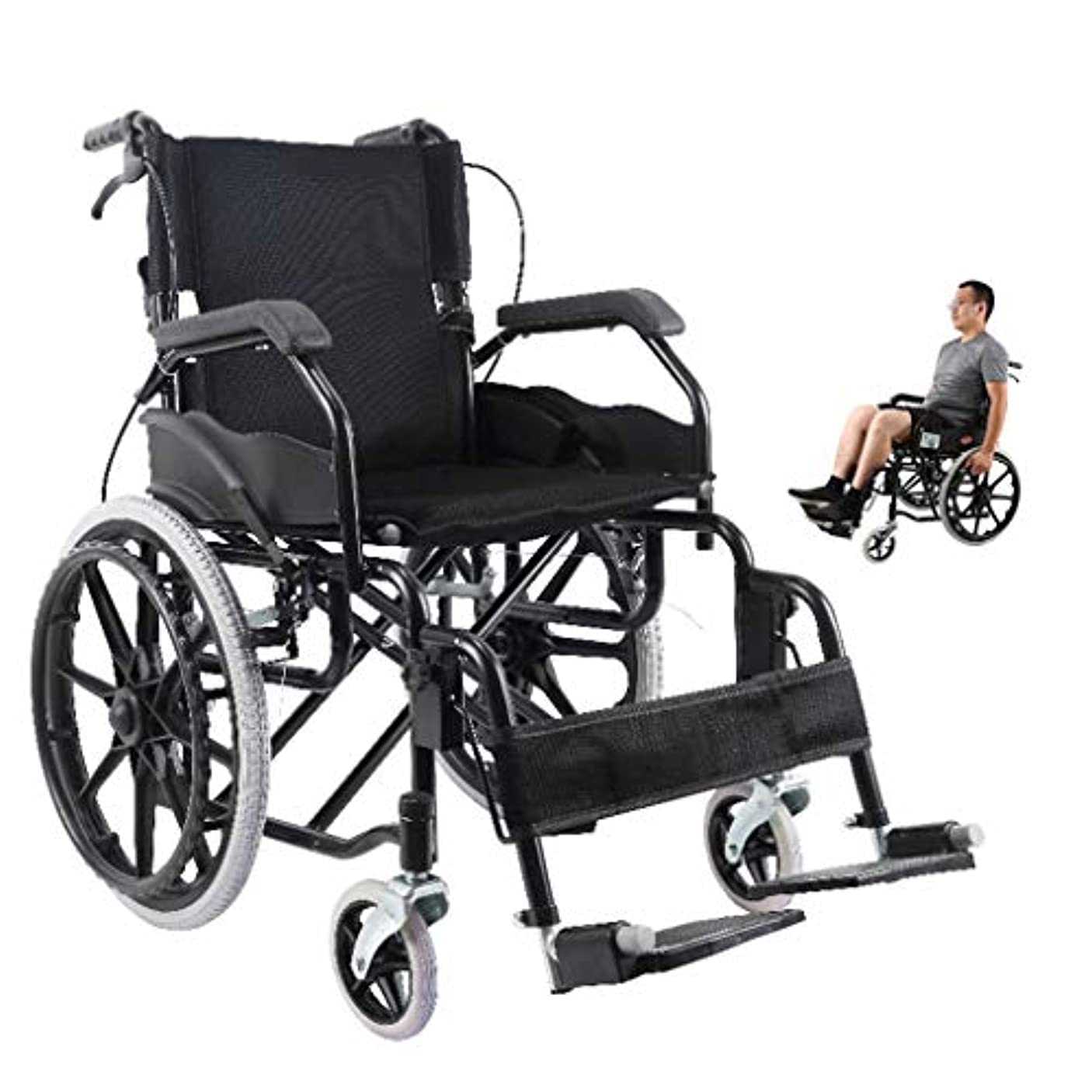フィヨルド広々としたみすぼらしい軽量車椅子滑り止めテクスチャ手すり、医療車椅子折りたたみ式、不自由な脚に適した携帯用車椅子、負傷者