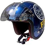 HANDLE KING 72JAM ジェットヘルメット&シールドセット [F.B.I. - ブラック (フリーサイズ:57-60cm)+開閉式アビエーションシールド (Fミラーシャンパンゴールド)] JJ-02B ジャムテック 72ジャム