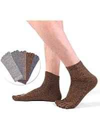 LOVART'S BEAUTY メンズ五本指靴下 カジュアルソックス 無地 5足セット 24-26cm