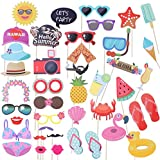 ハワイアンルアウパーティーフォトブース小道具クリエイティブサマーハワイアンテーマ漫画パーティー小道具メガネ帽子形状写真撮影キットパーティー好きな小道具(42pcs)