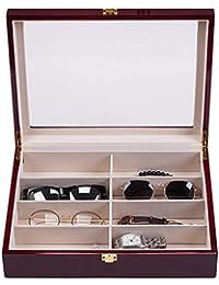 [NENIRI] 仕切りケース コレクション 腕時計 サングラス メガネ アクセサリー ジュエリー収納 ボックス パーツ 小物 雑貨入れ ディスプレイ 展示 木製