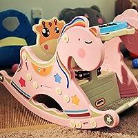 木馬 子供玩具 ロッキングチェア木馬 インテリア 赤ちゃん 幼児のおもちゃ 誕生日 出産祝い 1歳 2歳 3歳 (ピンク)