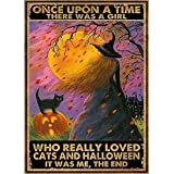 Vintage Cats and Halloween Who Really Loved Tin Sign Retro Style Miller Beer Bar Den Halloween Painting Metal 8x12 inch