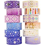 12 Rolls Washi Tape - 15mm/3m Gold Foil Decorative Washi Masking Tape Set for DIY Crafts, Scrapbook, Planner, Journal Supplie