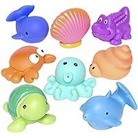 Elegant Baby Bath Time Fun Rubber Water Squirties Vinyl Zip Storage Bag, Sea Party, Set of 8 by Elegant Baby [並行輸入品]