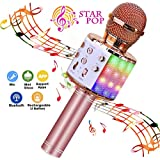 BlueFire 4 in 1 Bluetooth Handheld Wireless Karaoke Microphone Portable Speaker Machine Home KTV Player with Record Function for Android & iOS Devices(Pink)