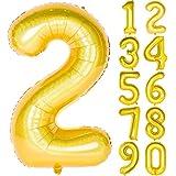 Angel&tribe 数字型風船 101.6cm/40インチ ナンバー 0~9 レーザーゴールド 誕生日パーティー飾り付け ヘリウムガス対応 ホイル マイラーバルーン 数字2 レーザーゴールド