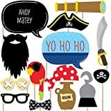 Ahoy Mates Pirate - Photo Booth Props Kit - 20 Count