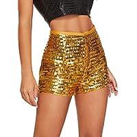 Verdusa Women's High Waist Sequin Zip Up Glitter Clubwear Shorts