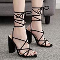 High Heel Sandals, Roman Shoes, Slippers, Wedding Shoes, Evening Dress Shoes, (Color : Black, Size : 40)