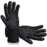 Tuffinno BBQ Grill Gloves Heat Resistant Anti Hot Kitchen Oven Pot Holder Silicone Non-Slip Glove with Fingers for Cooking, B
