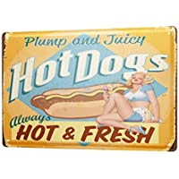 Tin Sign ブリキ看板 Retro Wall Sign Hot Dogs always hot and fresh Metal Plate