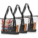 Bags for Less Set Clear Stadium Security Travel & Gym Zippered Tote Bag by Sturdy PVC Construction, Black Trim, Full Zipper Top Gusset - Clear Front Pocket - Color Fabric Bottom & Long Handles