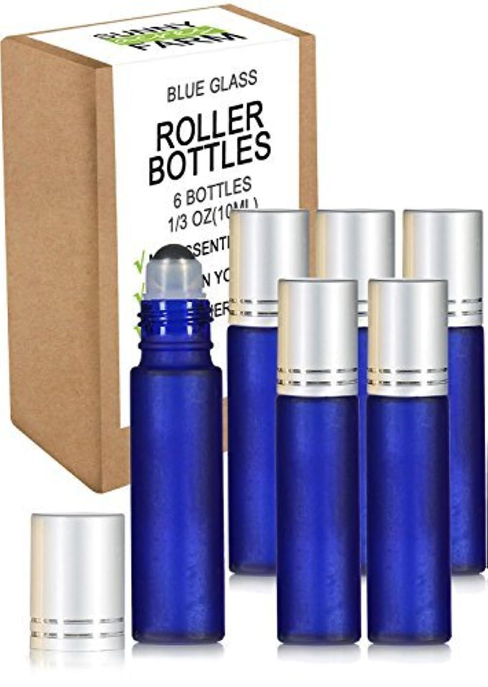 電圧半球低いRioa 10ml(1/3oz) Cobalt Blue Glass Roller Bottles With Stainless Steel Roller Ball for Essential Oil - Include...