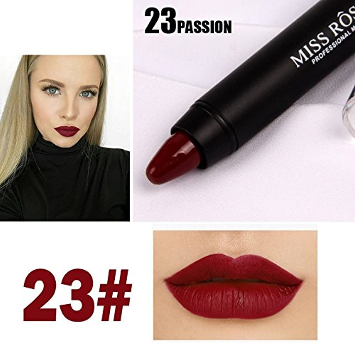 敵対的スキャンダル利益MISS ROSE Professional Women Waterproof Lipstick Lips Cream Beauty Lote Batom Matte Lipstick Nude Pencils Makeup