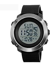 PHCOOVERS デジタル 腕時計 メンズ レディース 男女兼用 ミリタリー ウォッチ アラーム クロノグラフ 多機能 (ブラック S)