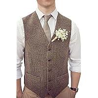 Onlylover Men's Wool Herringbone Groom Vests Formal Groom's Wear Suit Vest Skinny Wedding Dress Waistcoat