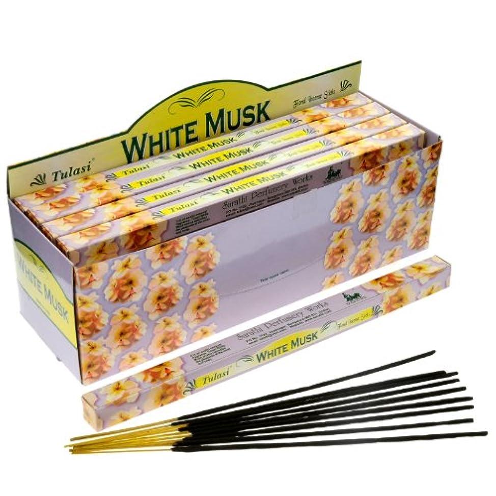 広々補助ケイ素Tulasi Incenseホワイトムスク8スティックSquare Pack