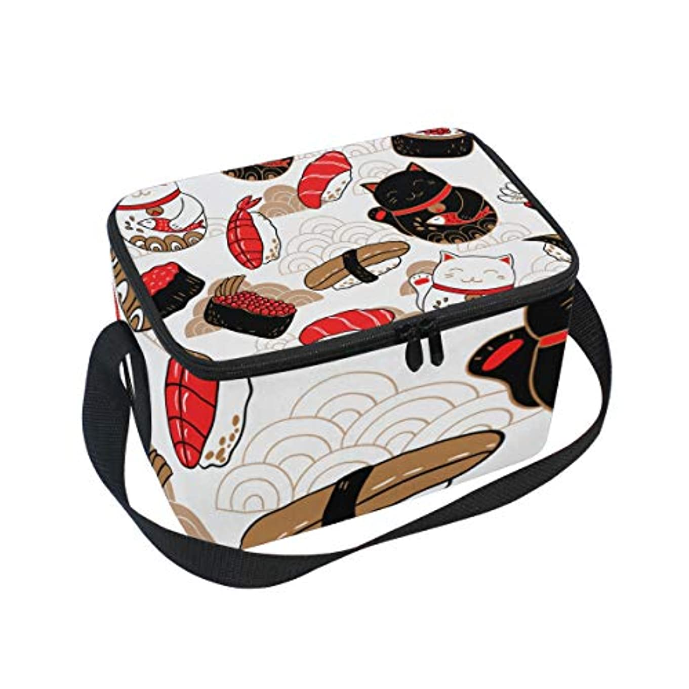 結紮誤解するあたりクーラーバッグ クーラーボックス ソフトクーラ 冷蔵ボックス キャンプ用品 伝統的 猫と寿司柄 三文魚 保冷保温 大容量 肩掛け お花見 アウトドア