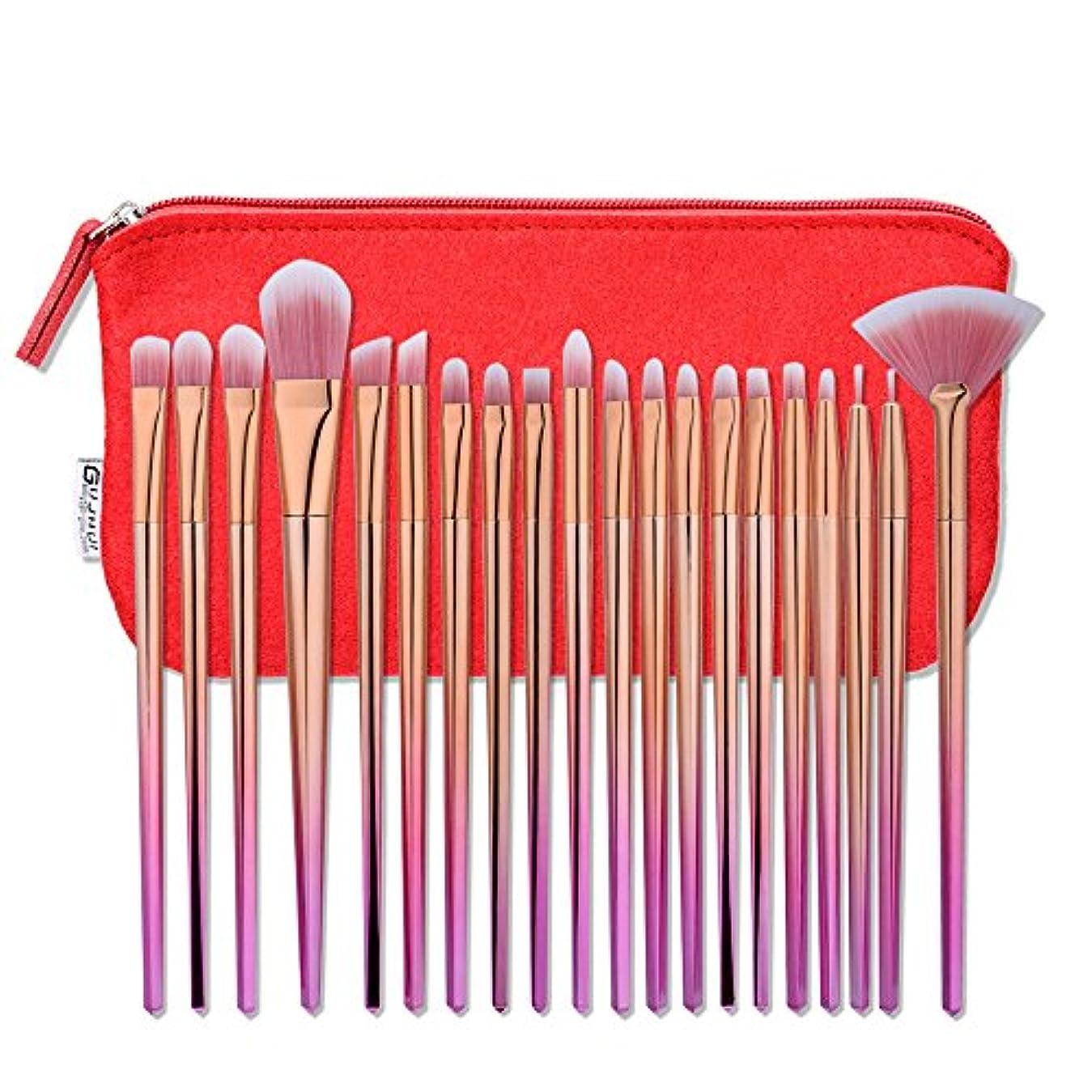 Akane 20本 GUJHUI 超綺麗 魅力的 ピンクゴールド セート 多機能 高級 柔らかい レッドポーチ付き たっぷり 上等 激安 日常 仕事 おしゃれ Makeup Brush メイクアップブラシ 20-024