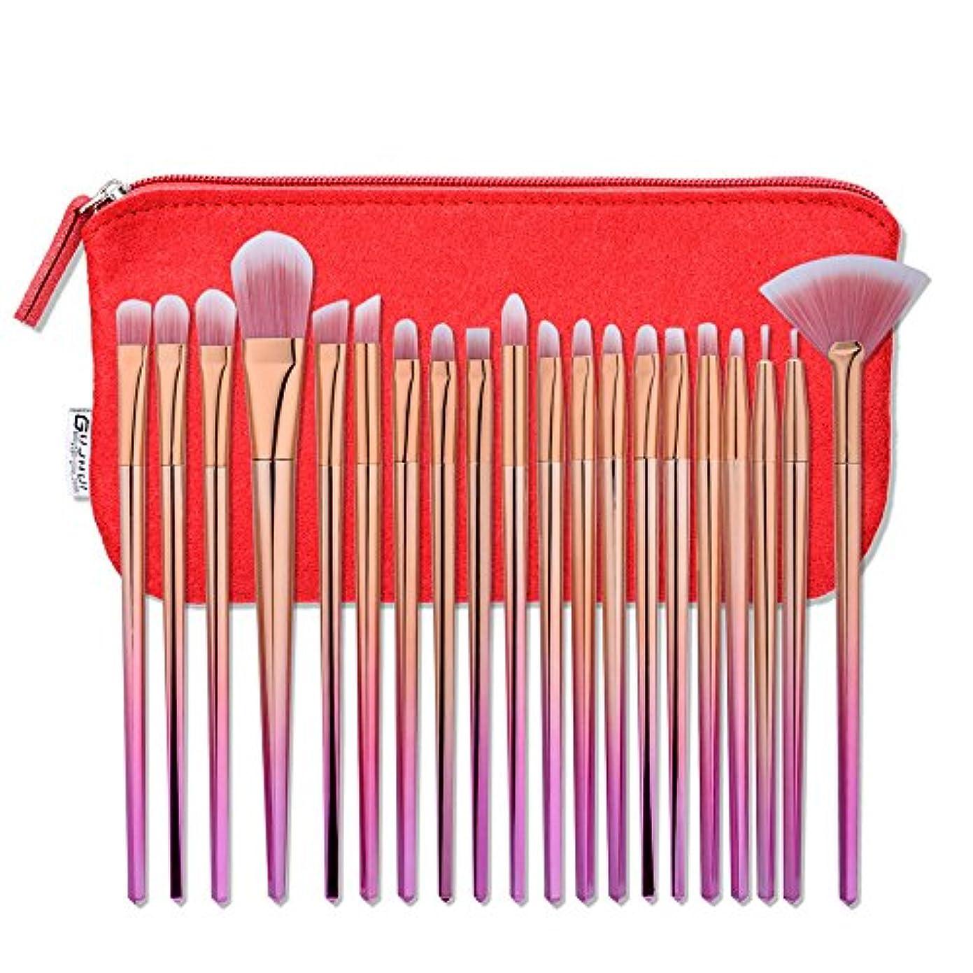 知覚できる反射赤Akane 20本 GUJHUI 超綺麗 魅力的 ピンクゴールド セート 多機能 高級 柔らかい レッドポーチ付き たっぷり 上等 激安 日常 仕事 おしゃれ Makeup Brush メイクアップブラシ 20-024