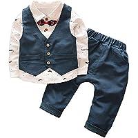 Emfay ベビー フォーマル 男の子 スーツ 長袖 子供タキシード 入園式 結婚式 七五三 新生児 ブルー 80cm