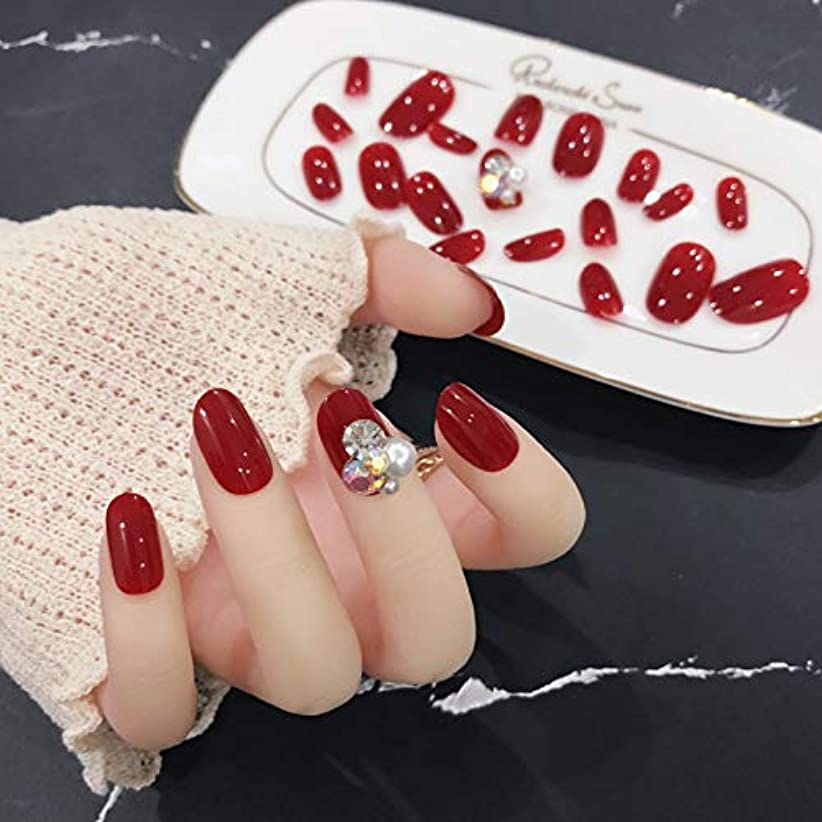 西汚染されたスラム街24枚純色付け爪 合成ダイヤモンド、パール装飾 ネイル貼るだけネイルチップ お花嫁付け爪