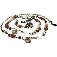 Kalevel Eyeglass Holder Necklace Glasses Strap Beaded Eyeglass Chains (Retro) (Bronze)