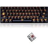 FELiCON® Gaming Mechanical Keyboard Brown Switch, RK61 Wired/Wireless Bluetooth Keyboard 61 Keys Orange LED Backlit USB Ergon