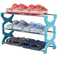靴ラックステンレススチールキャビネットの家具を格納靴オーガナイザー棚(青)56 * 20 * 34センチメートル
