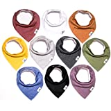 Little Munchkins 10 Pack Solid Color Baby Bandana Drool Bibs for Boys, Unisex - Organic Cotton - Absorbent - Soft- Teething Drool Bibs Set