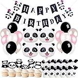 誕生日飾り付け パンダ 女の子 子供 大人 Happy birthday バナー 黒 白 ピンク アルミ ラテックスバルーン ケーキトッパー  バック