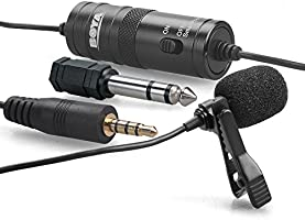 Boya by-M1 Lavalier Microphone Lapel Microphone Clip-on Omnidirectional Condenser for Smartphones, DSLR Cameras,...