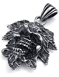 [テメゴ ジュエリー]TEMEGO Jewelry メンズステンレススチールヴィンテージペンダント刻印スカルネックレス、ブラックシルバー[インポート]
