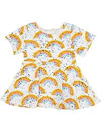 Liebeye ドレス 女の子 子供 かわいい 幼児 赤ちゃん ドット柄 三色虹 コットン オシャレ 丸首 スカート