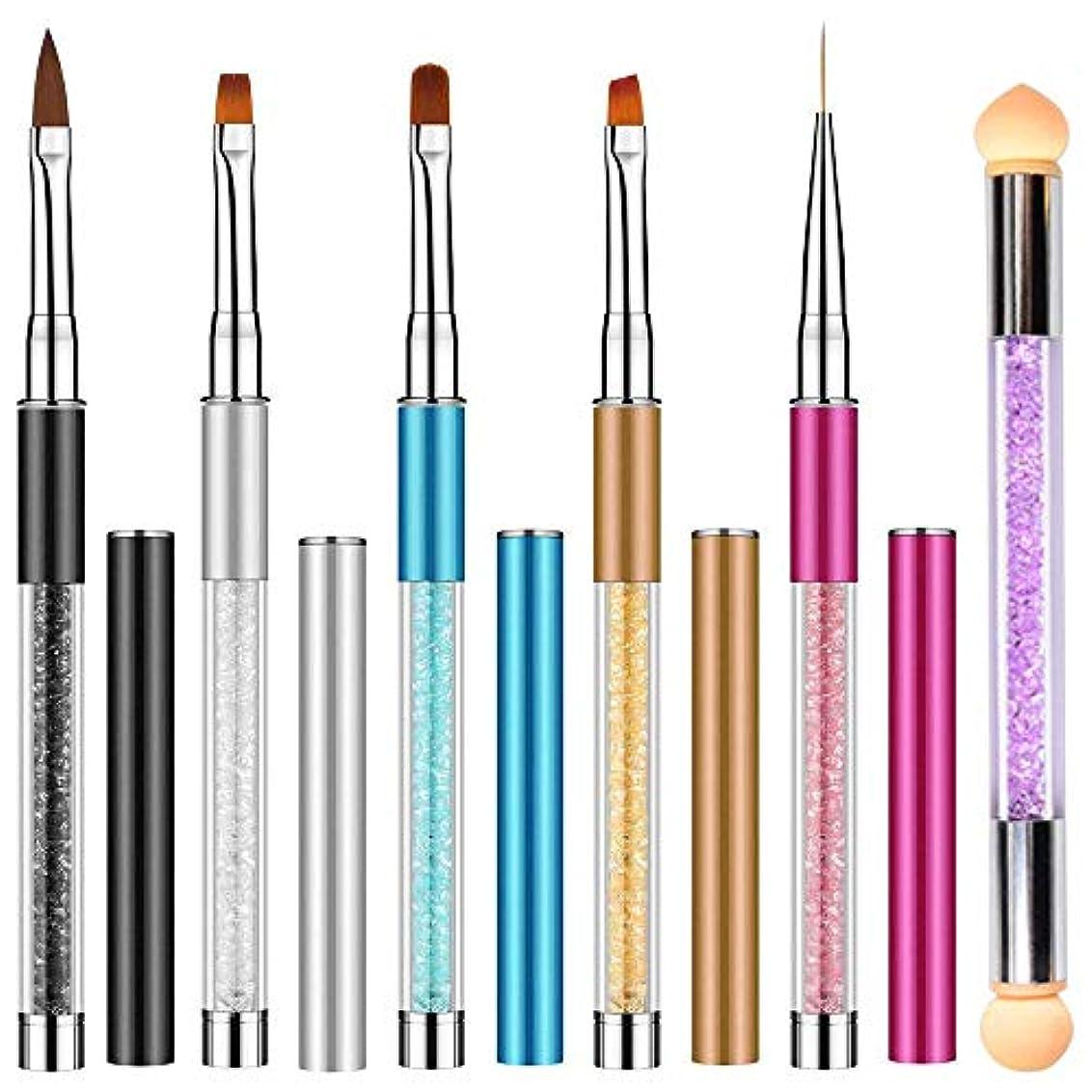 役に立つ浸透する過敏なNO.1 Direct 高品質 ネイルブラシ, ネイルアート筆 ジェルネイルペン フレンチ 平筆 ネイルペン アクリル 画筆 UV用 ネイルツール ネイル用品 キャップ付き 6本セット