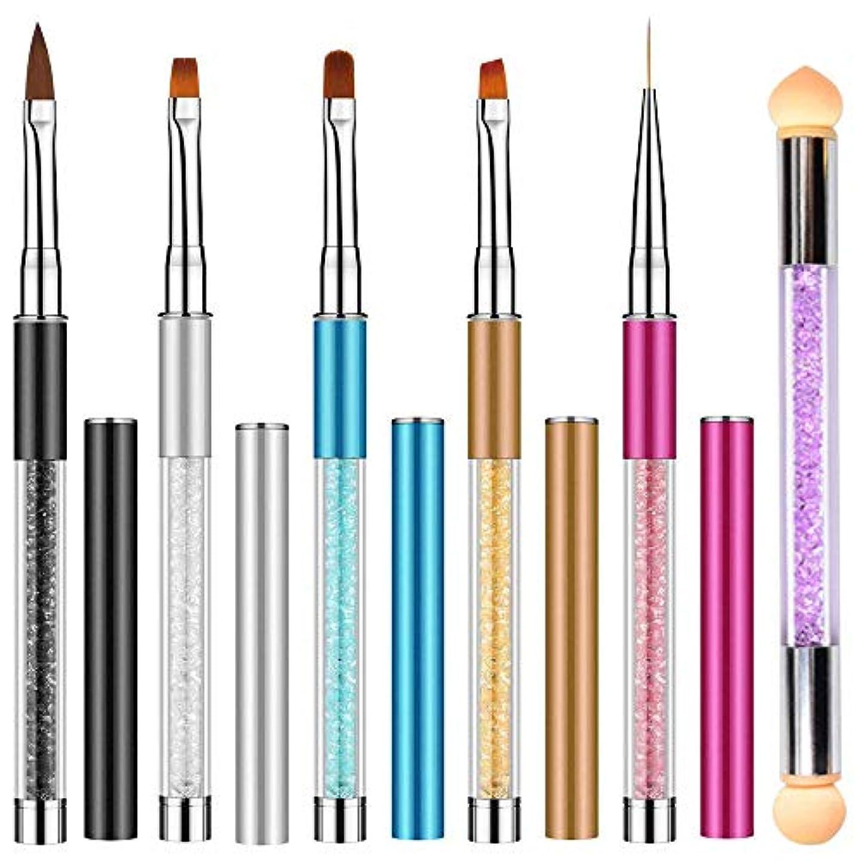 スタイル遠いサンプルNO.1 Direct 高品質 ネイルブラシ, ネイルアート筆 ジェルネイルペン フレンチ 平筆 ネイルペン アクリル 画筆 UV用 ネイルツール ネイル用品 キャップ付き 6本セット