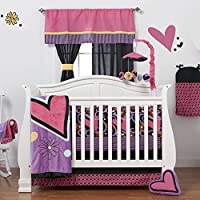 One Grace Place Sassy Shaylee Infant Crib Bedding Set, Black/Pink/Purple by One Grace Place