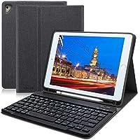 ipad 9.7 キーボードカバー Apple pencil 収納 ペンシルホルダー付き ワイヤレスキーボードケース 手帳型 ビジネスカバー 一体型 (ブラック)