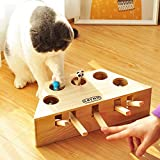 Interactive Cat Teaser Toy, AUOKER Solid Wooden Cat Exercise Toy Whack a Mole Mouse Puzzle Box with Different Cute Cartoon Toys for Cat Kitten Hunting Playing Exercising Scratching Bite - 3/5 Holes