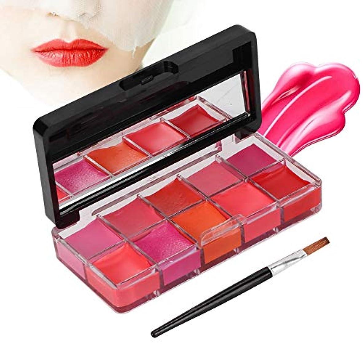 10色 リップパレット 保湿リップスティック防水リップグロス、リップブラシおよび化粧鏡付き