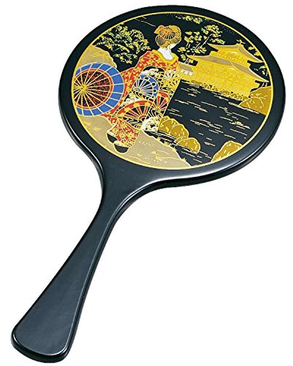 不要同盟描写中谷兄弟商会 山中漆器 丸手鏡 黒 舞妓33-0804