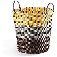大型ラタンランドリーバスケットベッドルームPVCポータブル汚れたハンパーの家庭用衣類雑貨ストレージバスケット (色 : A, サイズ さいず : 40 * 30 * 41cm)