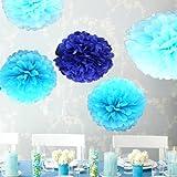 (ウエディングランド)WEDDINGLAND ペーパーポンポン ハニカムボール ペーパーフラワー バースデーパーティー 装飾 ウェディング 結婚式 アイテム 小物 インテリア お祝い ブルー 5個セット