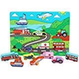 Wooden Peg Puzzles Chunky Size Farm Animal Puzzle - Transport Puzzle - Wooden Puzzle for 1 Year olds