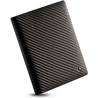 EGNT RFID Carbon Travel Wallet Passport Holder Cover Sleeve Case Genuine Leather Slim