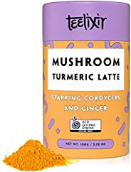 Teelixir Mushroom Turmeric Latte (100 g) Certified Organic Golden Milk Powder with Cordyceps Superfood Mushroo