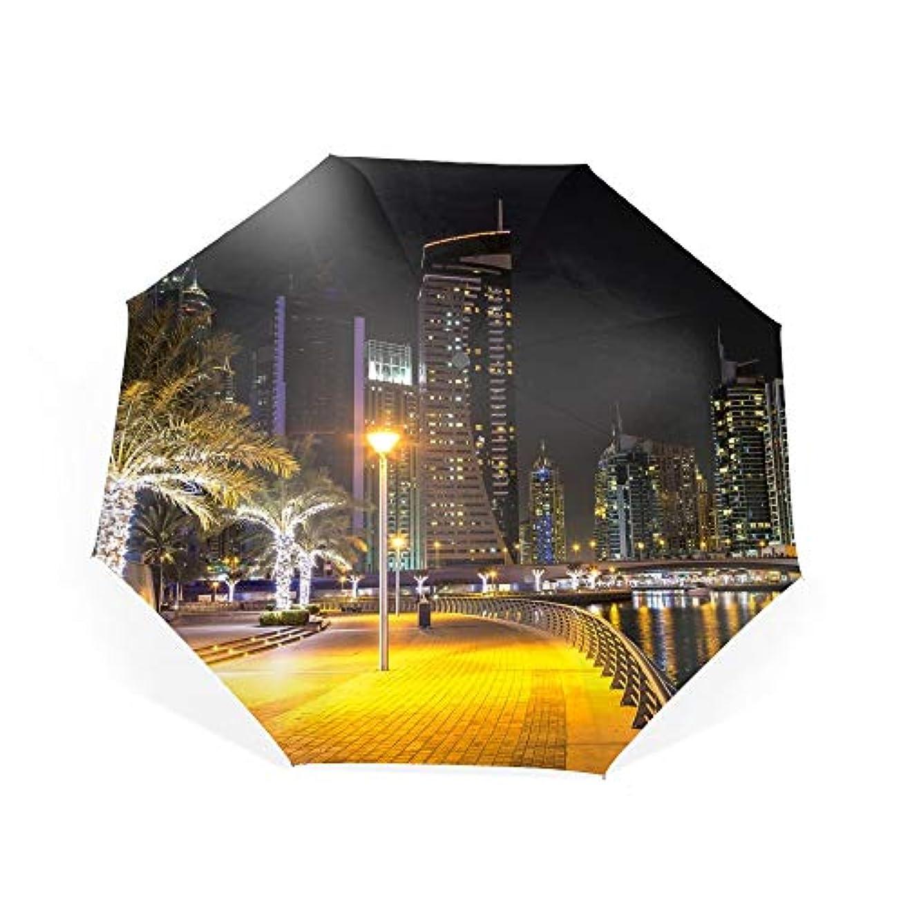 フォアタイプ側面肌寒い折り畳み傘 ワンタッチ自動開閉 日傘 晴雨兼用 軽量 紫外線遮断率99%以上日差しに超強いアナログ 傘強度アップ8本骨ガラス繊維 可愛いハンドル 耐風撥水 可愛い傘袋付きドバイナイトエンバンクメントベイヨットアラブ首長国連邦