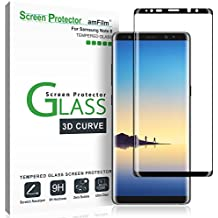 Galaxy Note 8 Screen Protector Glass, amFilm Full Coverage (3D Curved) Screen Protector with Dot Matrix & Installation Tray for Samsung Galaxy Note 8 (Black)
