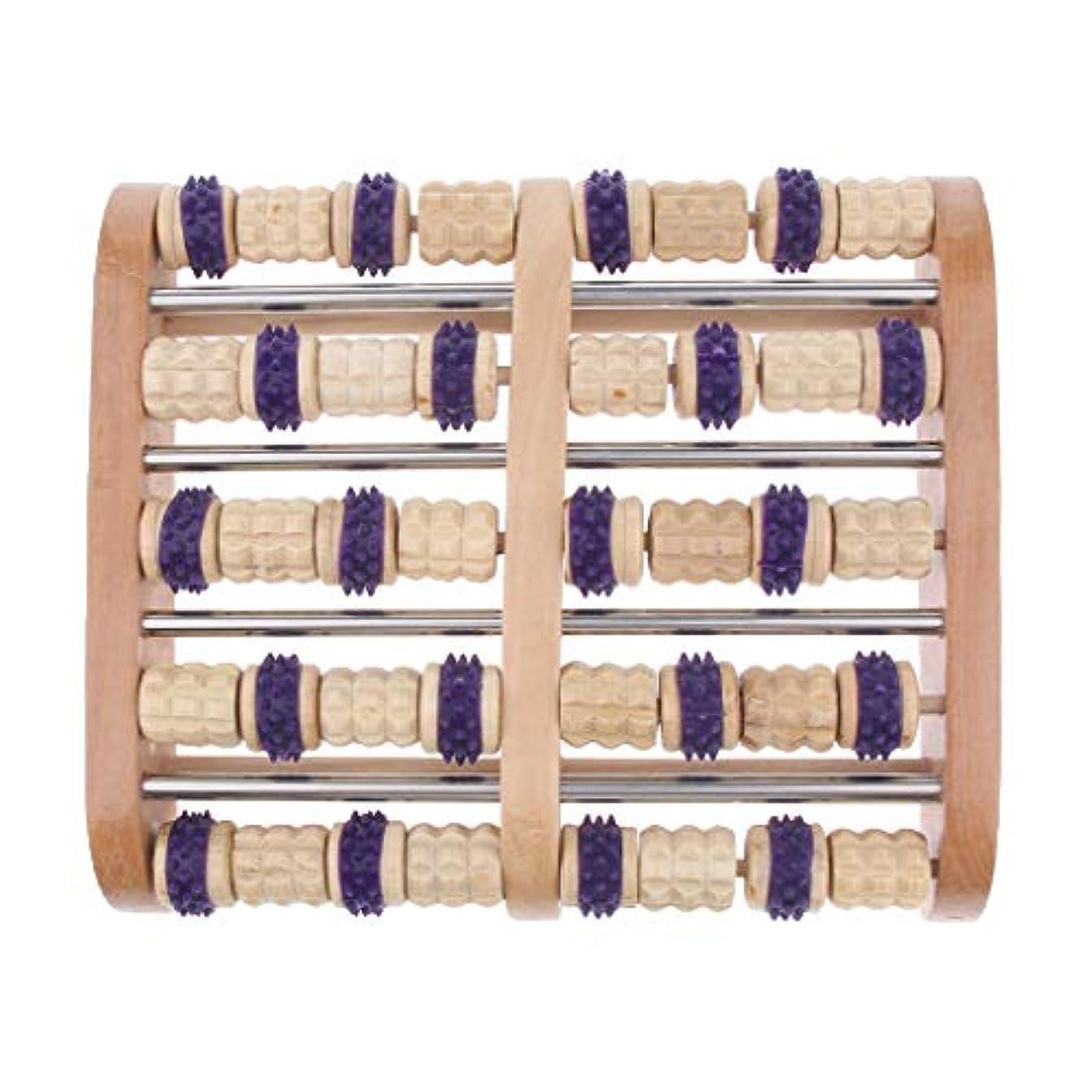 大混乱光繊細Baoblaze デュアルフットマッサージローラー 家庭用 サロン用 フットマッサージ 木製 高品質